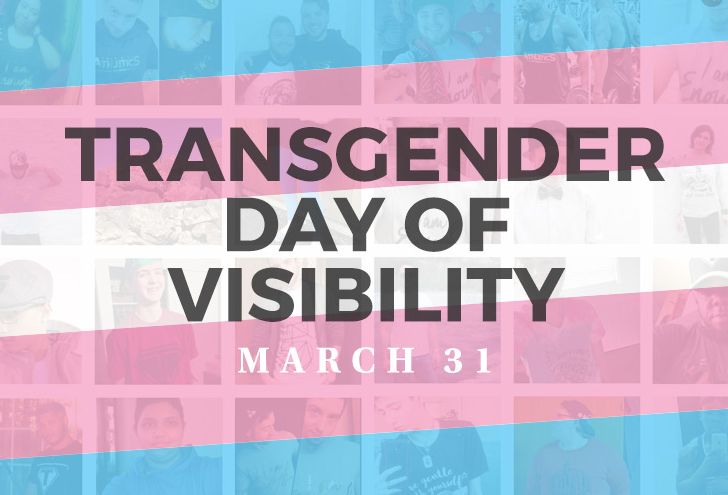 a blue, pink, and white flag with Transgender Day of Visibility March 31 in Bold letters